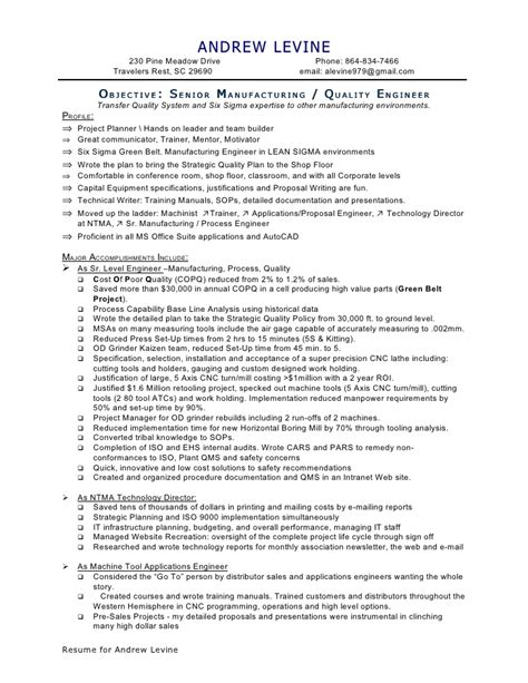 Machinist Resume Summary by 0 B A Levine Mfg Qc Eng Resume