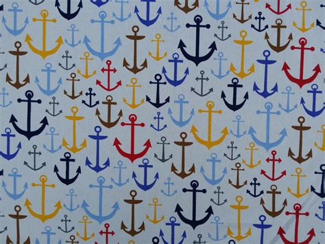 Nautical Upholstery by Large Anchors Nautical Upholstery Cotton Fabrics