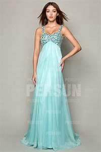 robe de soiree longue bleue avec bretelle orne de strass With robe couturier pas cher
