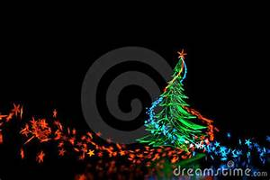 3D Neon Light Christmas Tree Isolated Black Stock