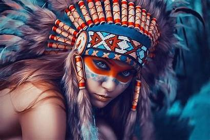 Native Face Painting Paint Colorful Headdress Eyes
