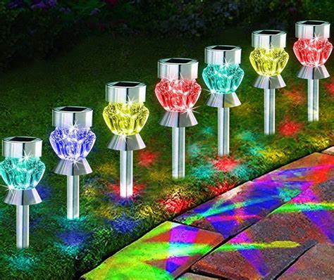 solar path lights outdoor diamond shaped sparkling color