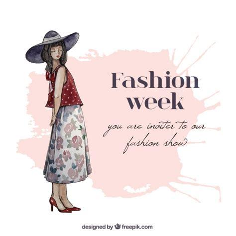fashion invitation card template painted fashion week invitation vector free