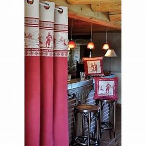 Rideau Gris Et Rouge : rideau oeillets rouge et gris ambiance chalet ~ Teatrodelosmanantiales.com Idées de Décoration
