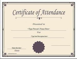 Perfect Attendance Certificate Template Best Photos Of Certificate Of Attendance Template Attendance Certificate Template Printable