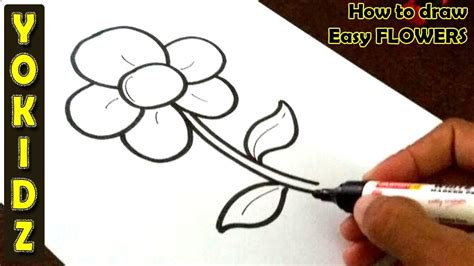 draw easy flower youtube