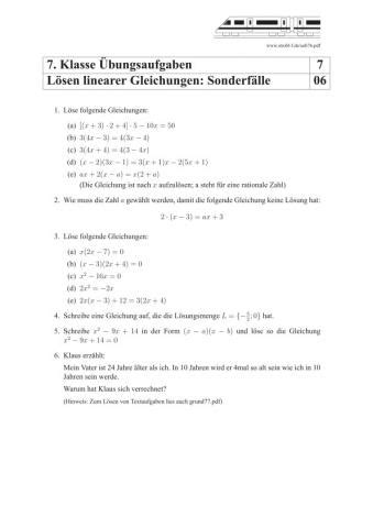 Lineare Gleichungen Lösen Übungen Und Aufgaben Mit