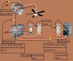 Wiring a way switch ceiling fan further bathroom