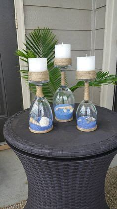 diy ocean  sea wine glasses ocean wine glasses candle