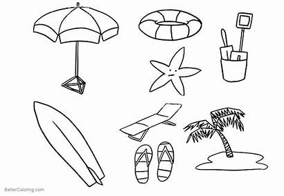 Coloring Beach Pages Surfboard Summer Printable Adults