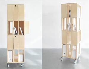 Bibliothèque Sur Roulette : biblioth que mobile avec roulettes multiplis de bouleau ~ Teatrodelosmanantiales.com Idées de Décoration