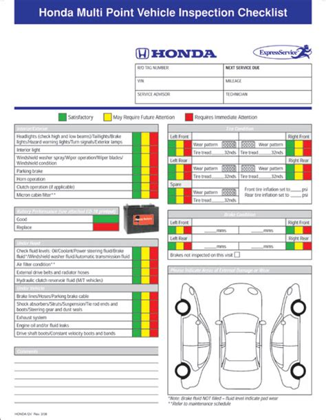 bureau inspection automobile honda multi point inspection form custom package of 500