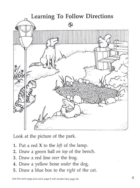 following directions park prepositions locatives