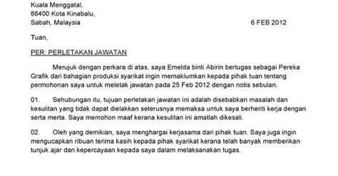 contoh surat berhenti kerja bahasa melayu resign