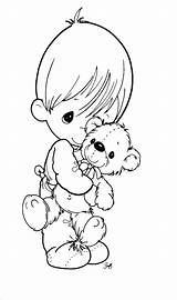 Coloring Baby Precious Moments Pages Cute Mother sketch template