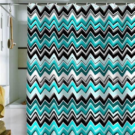Chevron Bathroom Ideas by Madart Inc Turquoise Black White Chevron Shower Curtain