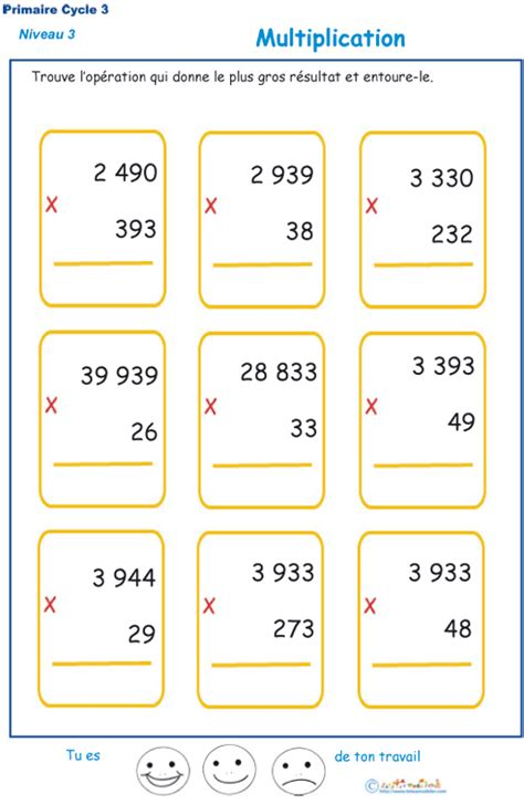 multiplications 224 imprimer pour les 233 l 232 ves de cm1 et cm2 du primaire