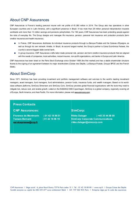 cnp assurances si鑒e social cnp assurances partenariat simcorp press release