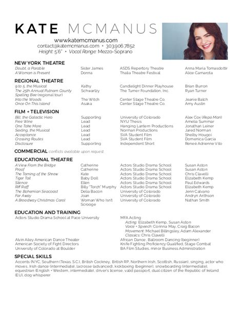 Resume For Actors by Kate Mcmanus Actor Resume