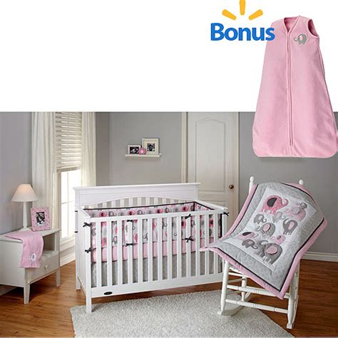 Bedding By Nojo by Bedding By Nojo Pink Elephant Time 4 Crib