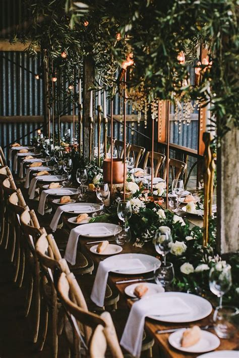 botanical australian barn wedding wedding reception