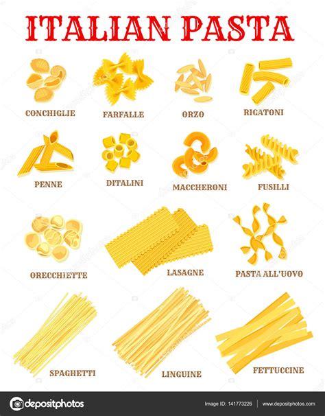 les noms des pates cuisine italienne p 226 tes liste affiche pour la conception de produits alimentaires image