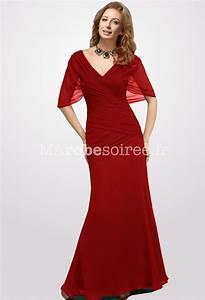 robe de soiree longue rouge manche courte drapee pour mere With robe rouge manche longue