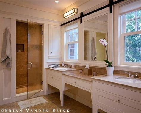 mirror  barn door track    pull    sink