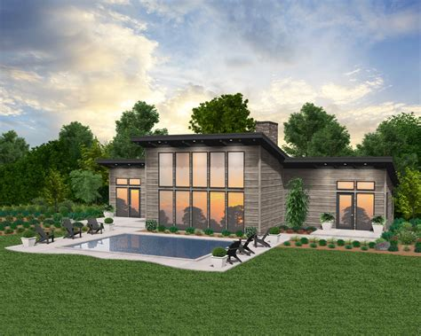 silk house plan  story modern home design   pool