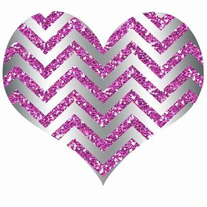 Heart Pink Silver Clipart Glitter Transparent Hearts