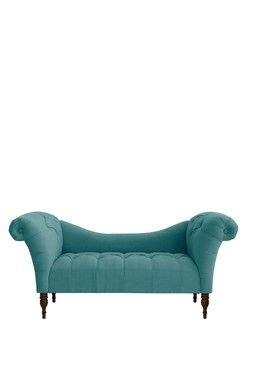 tufted chaise lounge linen teal tone blue etc