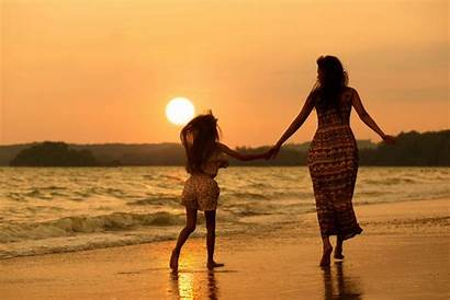 Daughter Beach Mother Woman Wallpapers Mom Nature