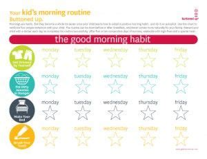 printable kids morning routine chart  images