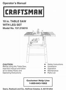 Sears Craftsman Table Saw Owners Manual Many Models