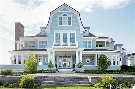 stunning stones for home exterior ideas a blue house with moroccan style on lake michigan