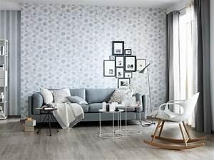 fotostrecke ein wohnzimmer in klassichem grau weiss With balkon teppich mit 3d tapete esszimmer