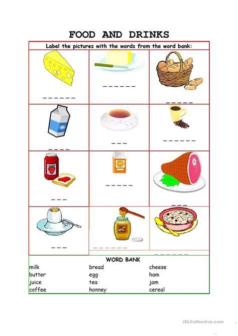 food food  drinks worksheet  esl printable