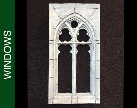 208 Med. Square Stone Traced Gothic Dollhouse Window W/stone