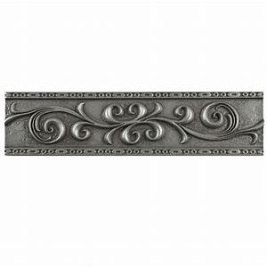 Merola Tile Contempo Scroll Liner Pewter 3 in x 12 in
