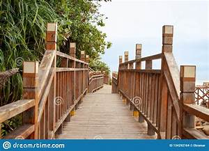 Wooden, Stairs, Along, The, Sea, Coast, Stock, Photo