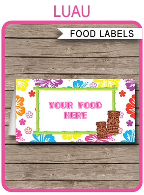 luau party food labels place cards luau theme birthday