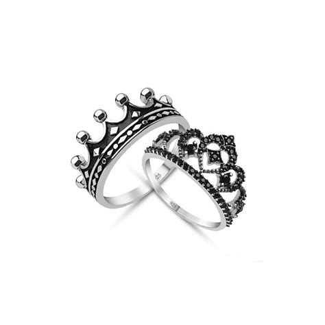 King & Queen,crown ring set,18k gold plated silver crown