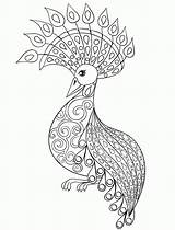 Coloring Adults Peacock Adult Printable Popular sketch template