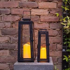 Solar Laterne Groß : solar laternen 39 5cm 29 5cm schwarz aus metall mit led kerze garten leuchte ebay ~ Watch28wear.com Haus und Dekorationen