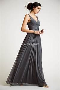 elegant pleated chiffon lace v neck dark grey bridesmaid With gray dresses for a wedding