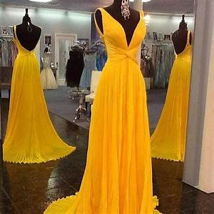 chic gold yellow prom dresses 2016 plunging v neckline With yellow evening gowns wedding