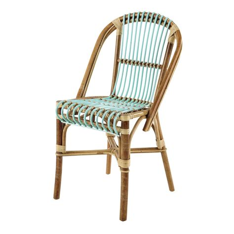 chaise bistrot rotin rattan vintage chair in sea green florida maisons du monde
