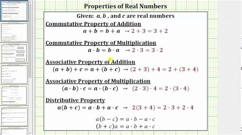 Identify Addition Properties Of Real Numbers Youtube
