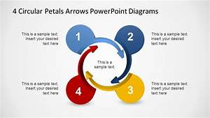 4 Circular Petals Arrows Powerpoint Diagrams