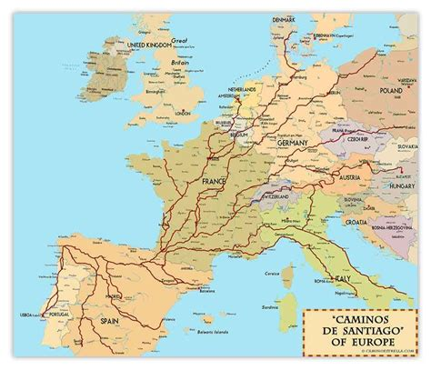 camino maps caminos de santiago of europe print by marc